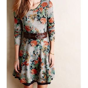 Anthro Terry floral fit and flare sweater dress